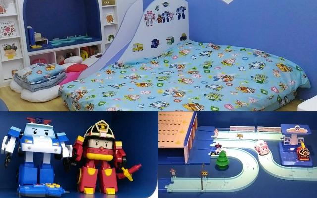 童樂繪親子遊戲館-寢具圖案、玩具、裝飾都可以看到波力的蹤影